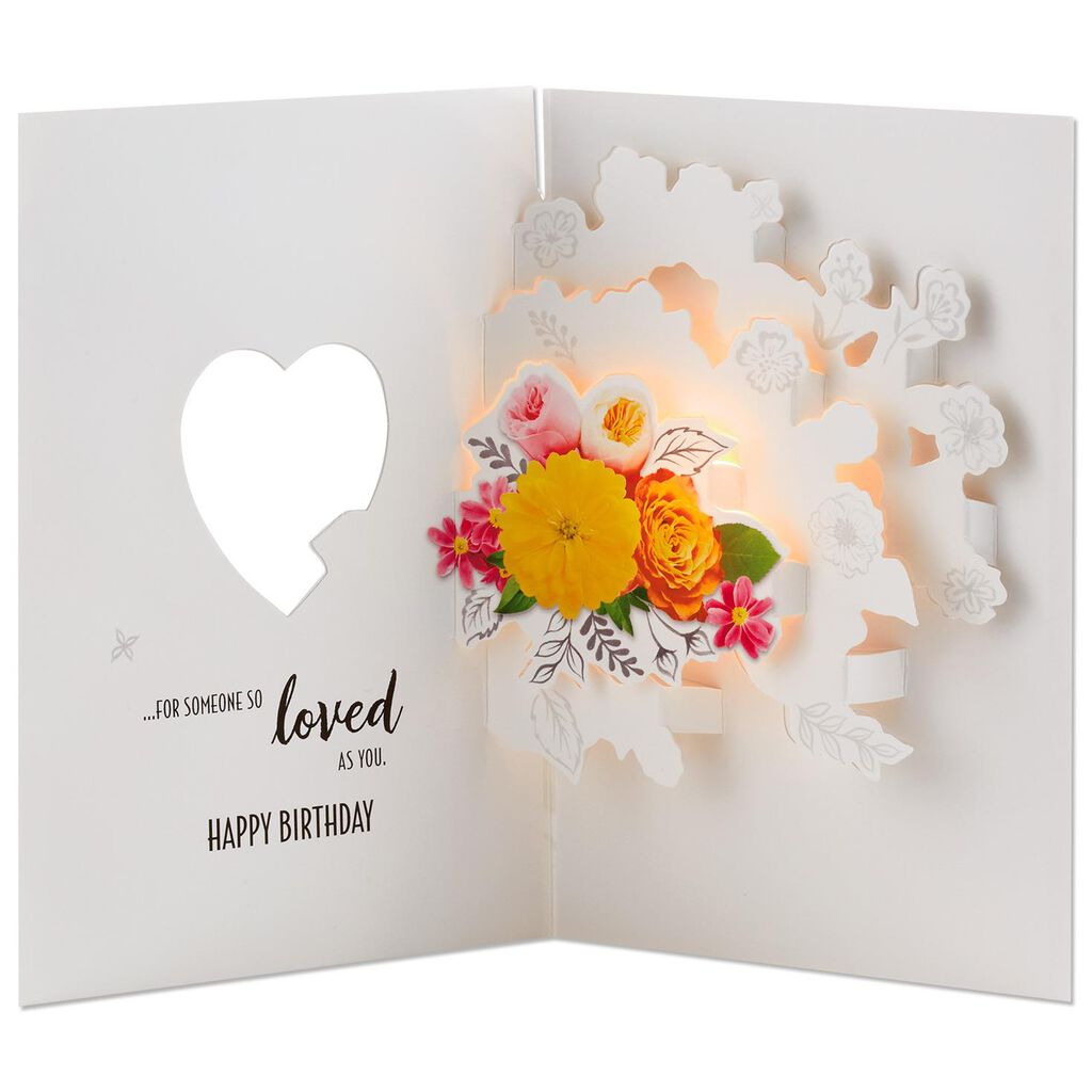Sweet Beauty Pop Up Birthday Card With Light