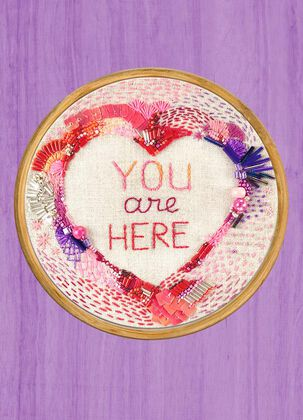 You Are Here Embroidery Love Card