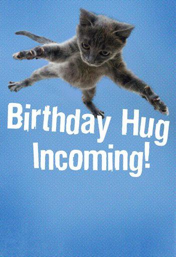 Flying Cat Hug Birthday Card