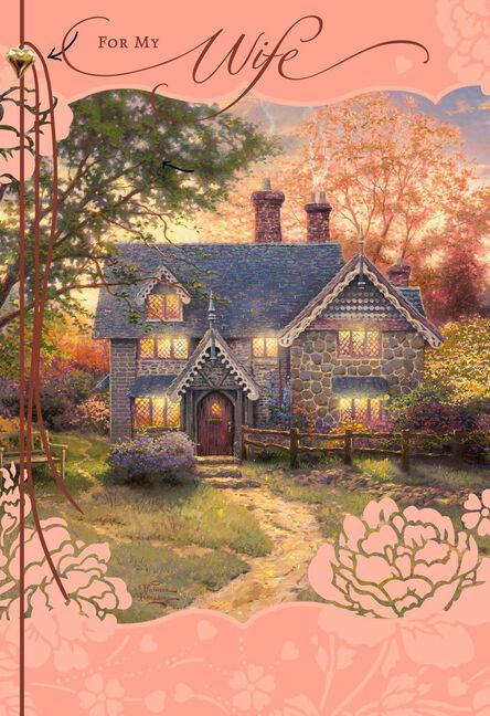 Thomas Kinkade Cottage For Wife Mothers Day Card Greeting Cards