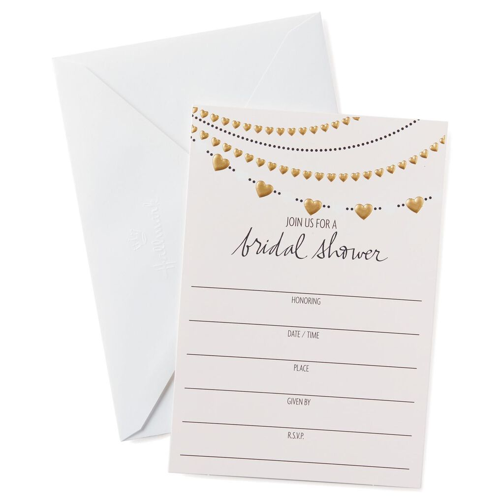 Heart Garland Bridal Shower Invitations Pack Of 10