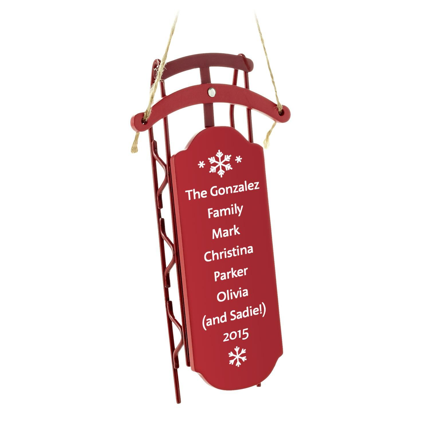 Sled with Rails Personalized Ornament - Personalized ...