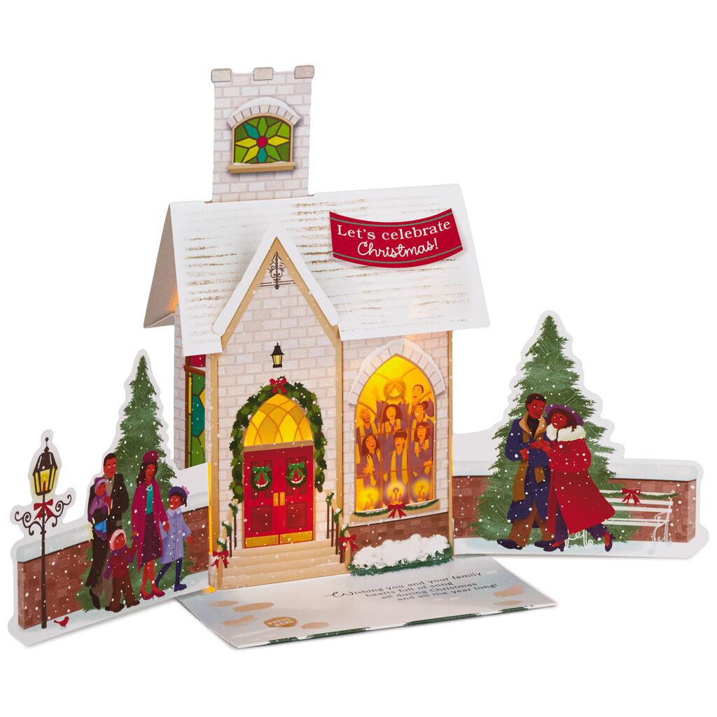 Snowy Church Pop Up Musical Christmas Card With Light Greeting