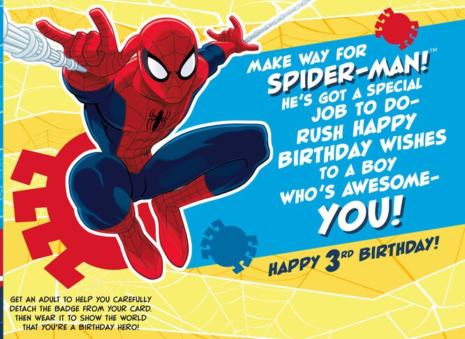 Spider Man 3rd Birthday Card With Wearable Ribbon Greeting Cards