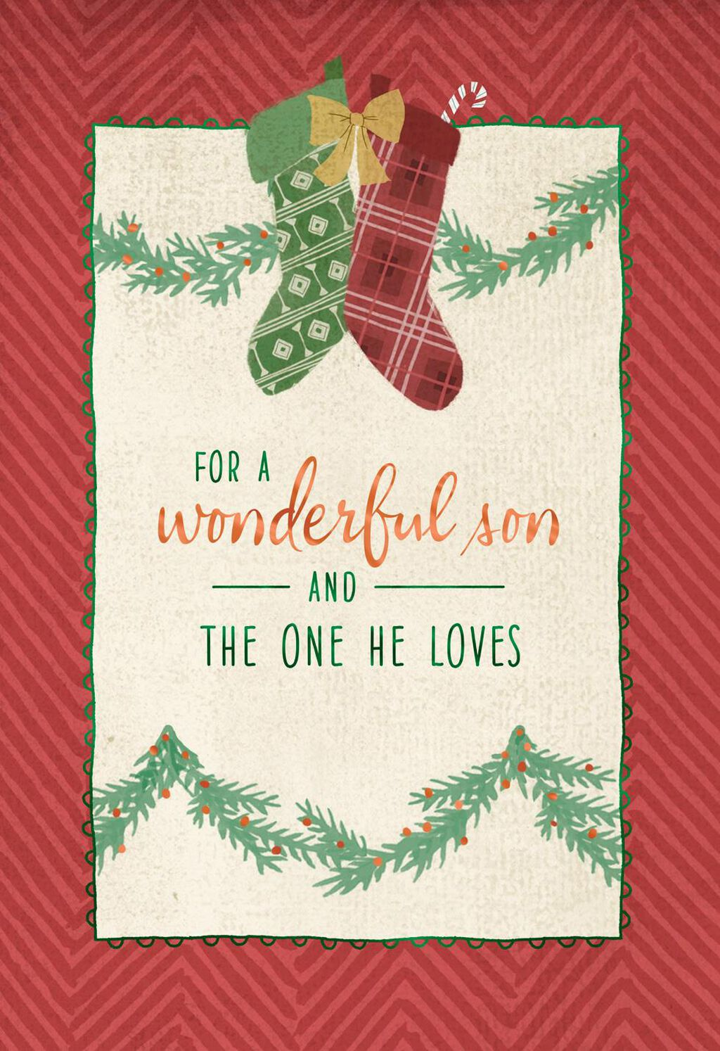 A Pair of Stockings Christmas Card for Son and the One He Loves ...