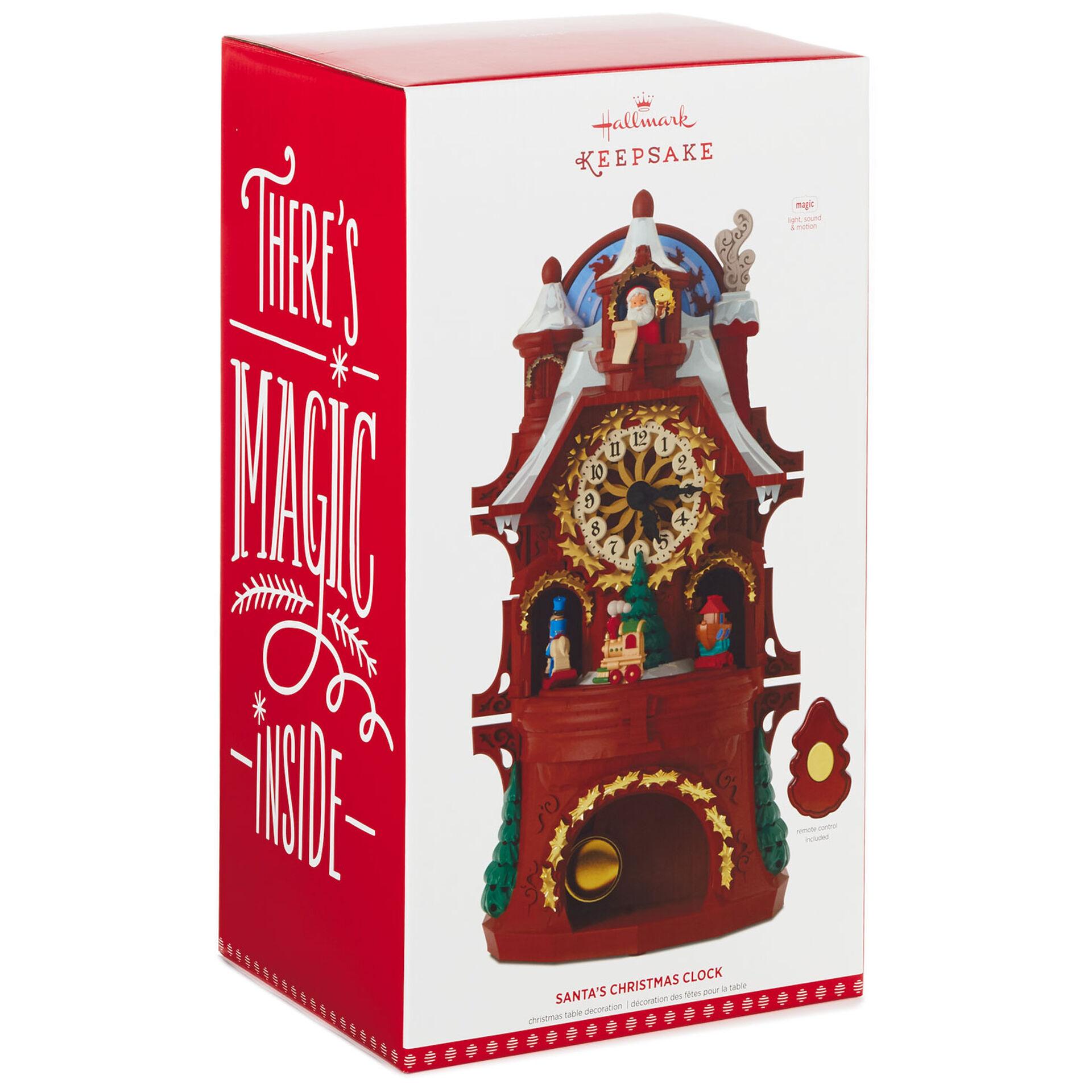 Santa S Musical Christmas Clock With Motion And Light Keepsake Ornaments Hallmark