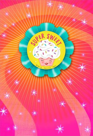 Super Sweet Cupcake Birthday Card With Pin-On Button