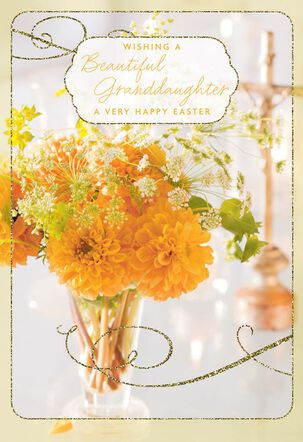 Flower Bouquet Religious Easter Card for Granddaughter