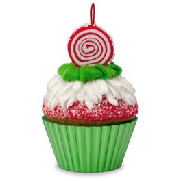 Peppermint Swirl Christmas Cupcakes Ornament, , large