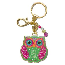 Natural Life Glitter and Gold Keychain Owl Live Love Laugh, , large