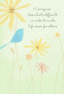 Bluebird and Flowers Thank You Card for Caregiver,