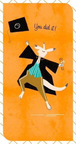 Dancing Kangaroo Money Holder Graduation Card