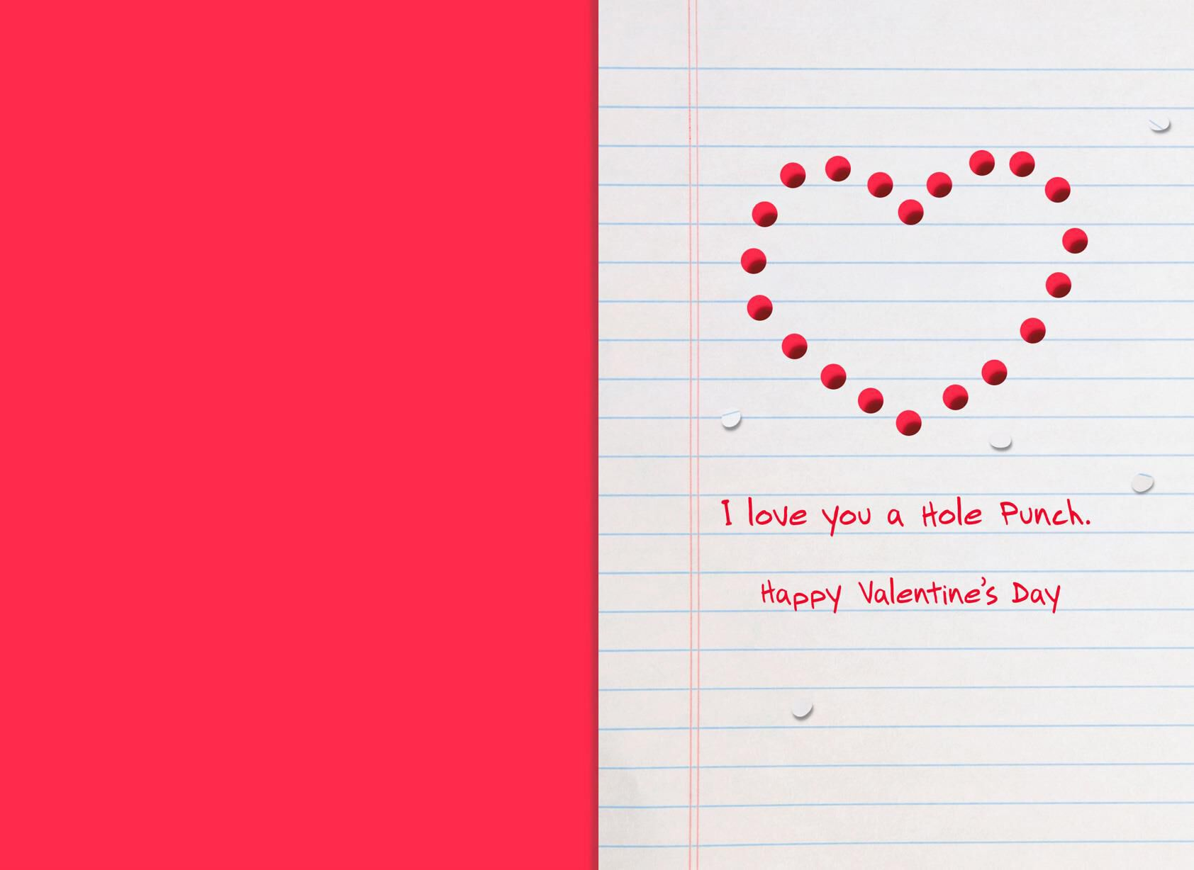 Love You A Hole Punch Funny Valentineu0027s Day Card