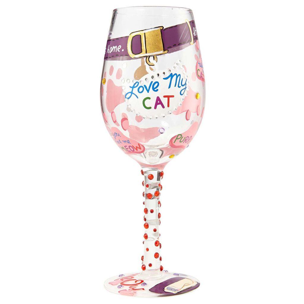 Lolita Love My Cat Handpainted Wine Glass 15 Oz Wine Glasses