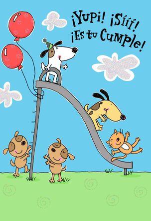 Puppies and Playground Spanish-Language Birthday Card for Child