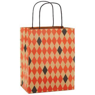 "Kraft Orange & Black Diamonds Medium Halloween Gift Bag, 9.75"","