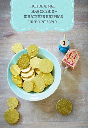 Gold Coins and Dreidels Hanukkah Card