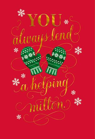 Helping Mitten Christmas Card for Child Care Provider