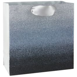 "Silver/Black Ombre Large Square Gift Bag, 10.5"", , large"
