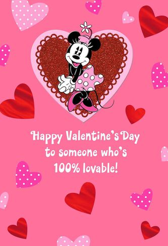 minnie mouse lovable valentines day card