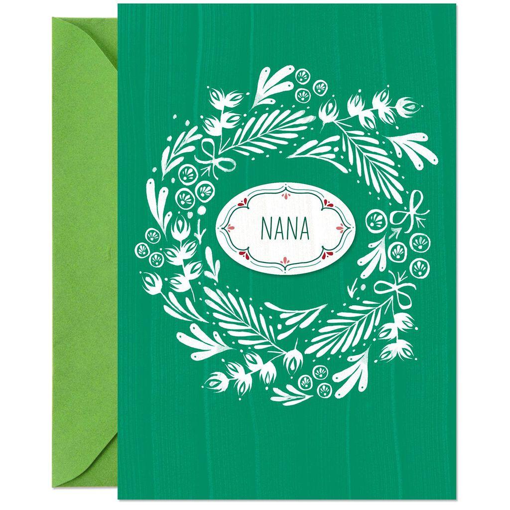 Customizable Christmas Card With Grandma Name Stickers - Greeting ...