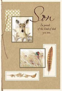 Marjolein Bastin Pheasant and Deer Father's Day Card for Son,