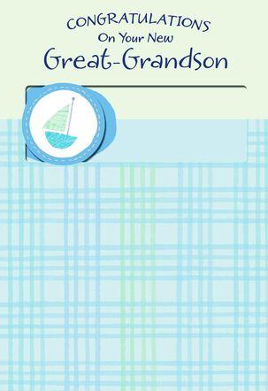 Blue Tartan Great-Grandson Congratulations Card