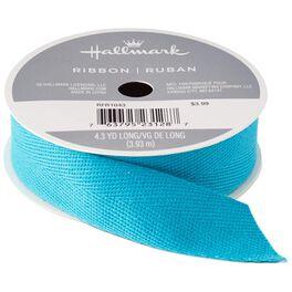 "Blue 7/8"" Cotton Ribbon, 4.3 yards, , large"