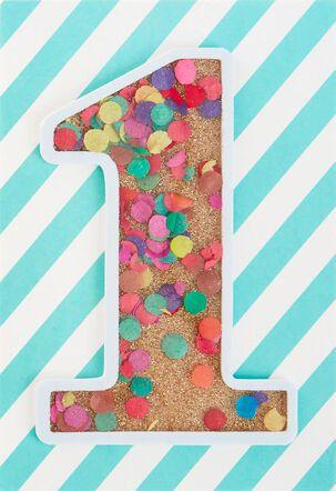 Being 1 Is Fun Confetti 1st Birthday Card
