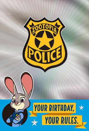 Disney Zootopia Police Badge Birthday Card with Stickers