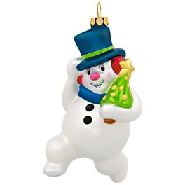 Jolly Snowman Glass Ornament, , large