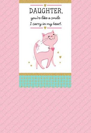 Smiling Cat Valentine's Day Card for Daughter