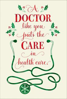 Stethoscope Christmas Card for Doctor,