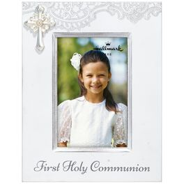 First Communion Wood Picture Frame With Cross, 4x6, , large
