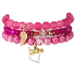 "Chavez for Charity Pink ""Hope"" Bracelets, Set of 3, , large"