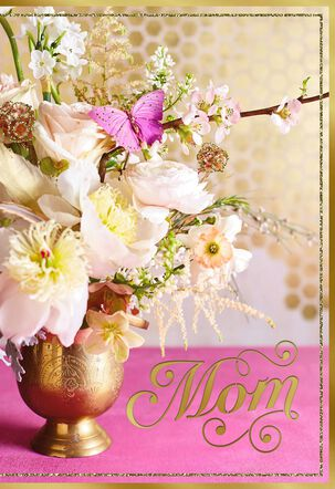 Bouquet on Gold Honeycomb Mother's Day Card