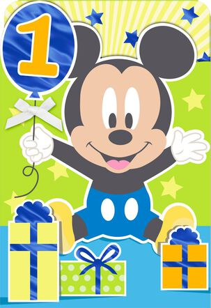 Disney Mickey Mouse How Do You Do It 1st Birthday Card