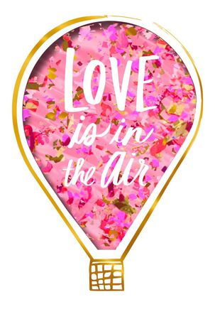Love is in the Air Hot Air Balloon Valentine's Day Card