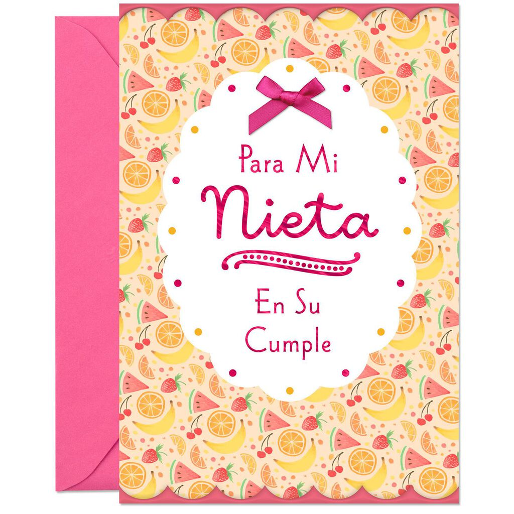 Hugs And Wishes Spanish Language Birthday Card For Granddaughter