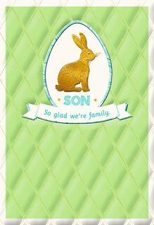 Son Gold Bunny Easter Card,