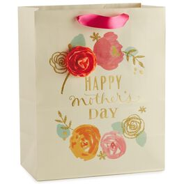 "Pink, Orange and Gold Floral Mother's Day Large Gift Bag, 13"", , large"