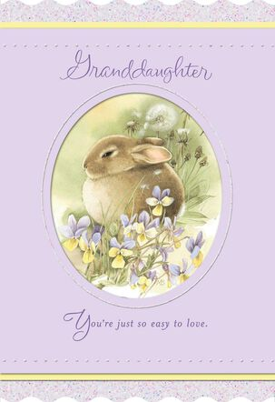 Marjolein Bastin Bunny and Flowers Easter Card for Granddaughter