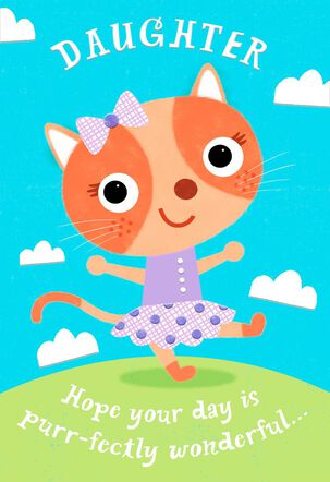 Cat With Bow Purr-fectly Birthday Card for Daughter