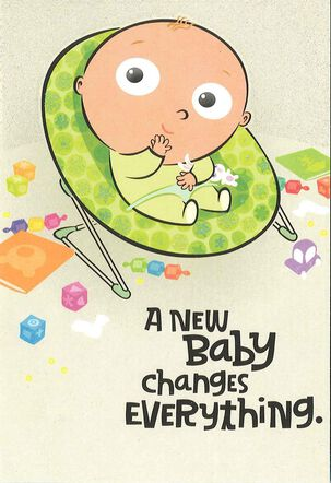 Baby in Bouncy Seat Funny New Baby Card