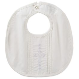 """Embroidered Cross With Pleats Baby Bib, 9"""", , large"""