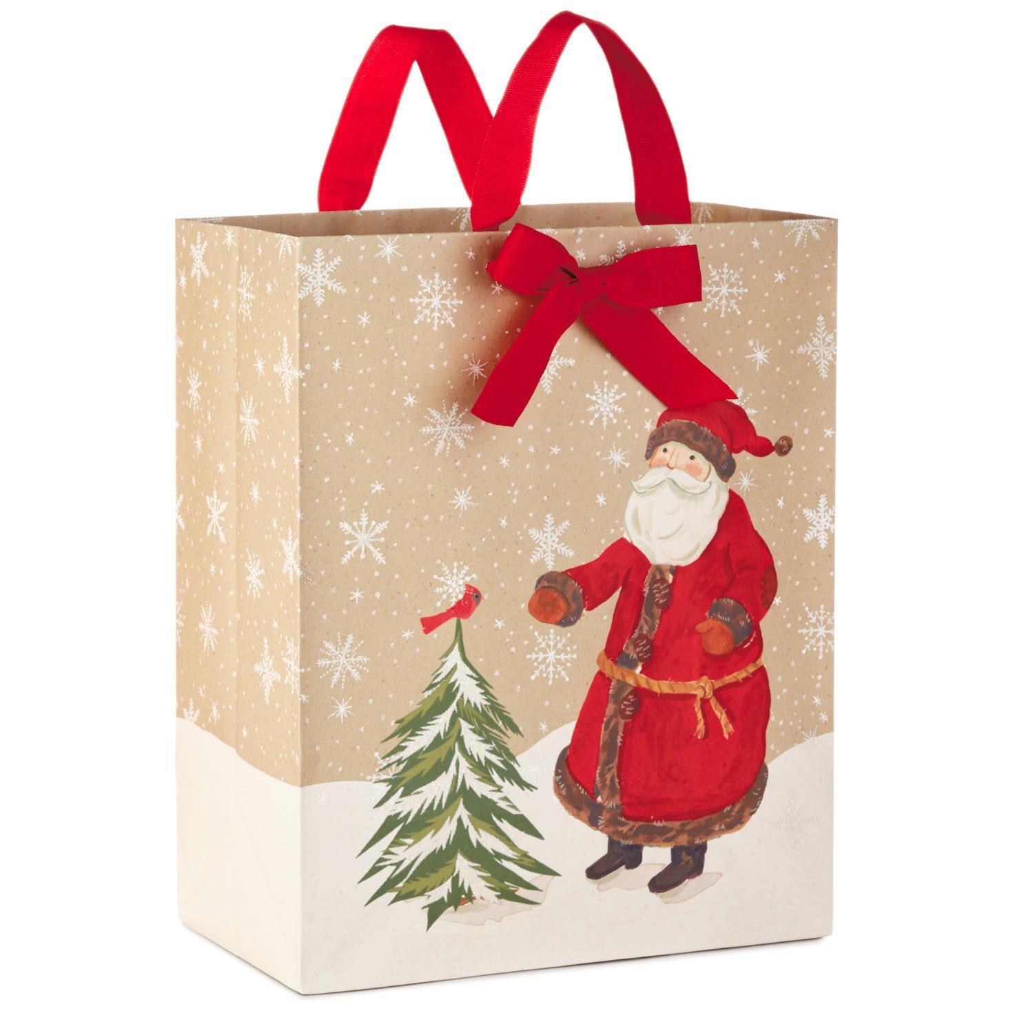 santa on kraft large christmas gift bag 13 gift bags hallmark - Large Christmas Gift Bags