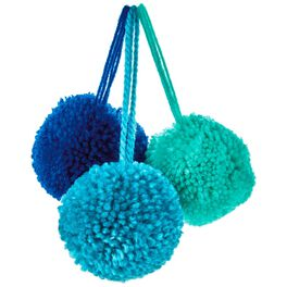 """Shades of Blue 1 1/2"""" Yarn Pom Gift Bows, Pack of 3, , large"""
