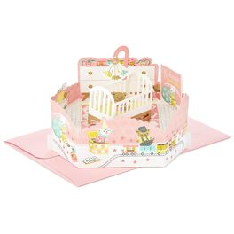 Girl Nursery Pop Up New Baby Card, , large