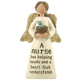 Nurse Angel With Bird Nest Figurine, , large