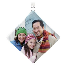 Ceramic Diamond-Shaped Personalized Photo Ornament, , large